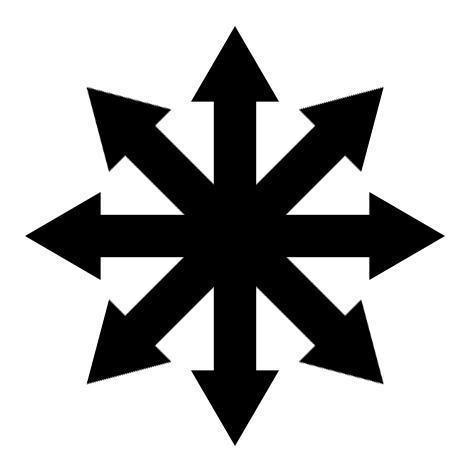 Четыре перекрещенных кости позади  — символ хаоса из книг Муркока 60-ых годов.
