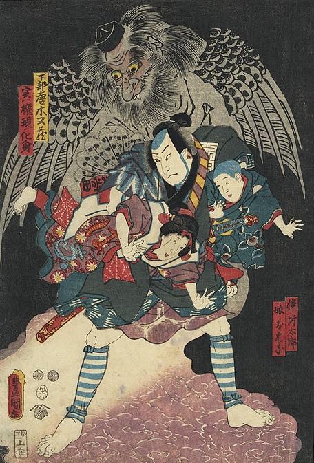 Тэнгу на японской гравюре