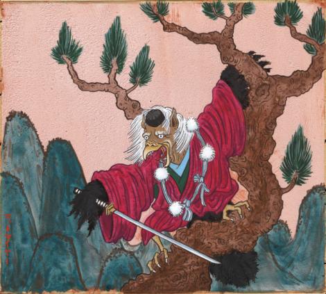 Тэнгу с мечом и в шапочке