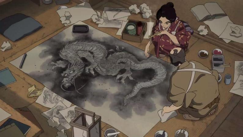 """кадр из аниме """"Госпожа Хокусай"""""""