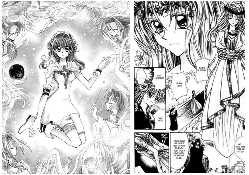 Манга «Неуловимая воровка Жанна» Танэмуры Арины. Слева — главная героиня Марон в окружении ангелов, справа — Жанна д'Арк