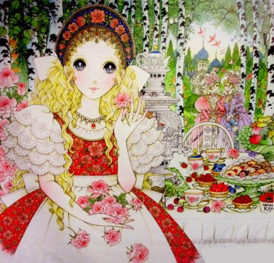 иллюстрация Такахаси Макото, воспроизводящая русский костюм и чаепитие с самоваром